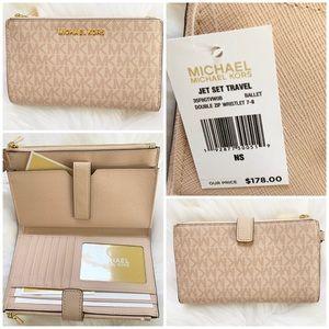 Michael kors double zip wristlet ballet wallet new